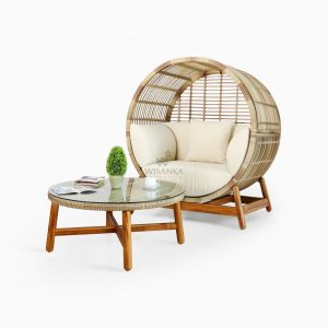 Orza Daybed and Coffe Table Set - Outdoor Rattan Garden Patio Furniture