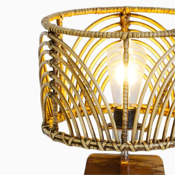 Avani Table Lamp with Pitrit Shade - Natural Rattan Table Lamp detail