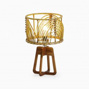 Avani Table Lamp with Pitrit Shade - Natural Rattan Table Lamp on