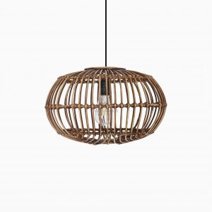 Sommerset Small Brown Wash Hanging Lamp - Natural Rattan Pendant Lamp Off