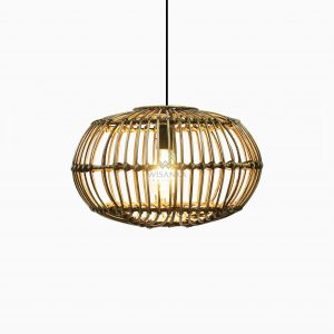 Sommerset Small Brown Wash Hanging Lamp - Natural Rattan Pendant Lamp On