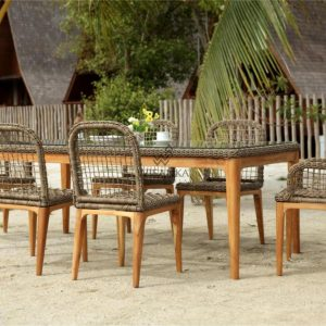 Tropical Dining Set - Outdoor Rattan Garden Patio Furniture detail (4)